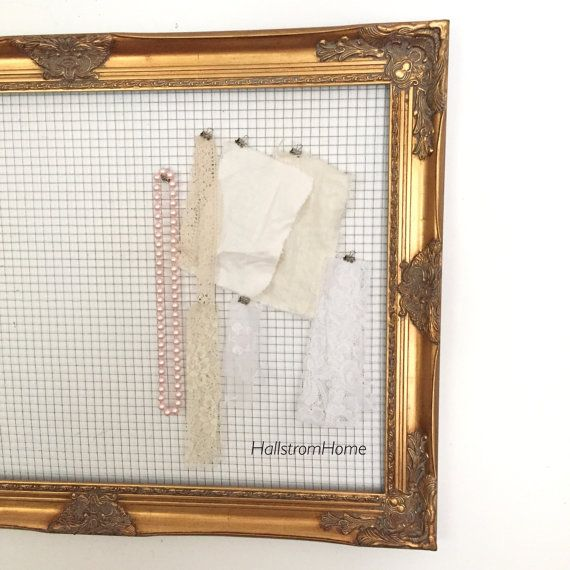 Chicken Wire Frame Memo Board Gold Jewelry Hanging Organizer Wedding