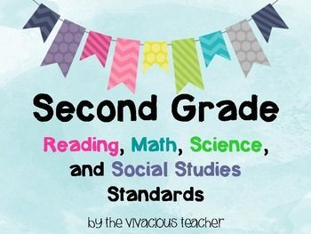 Second Grade Common Core State Standards Posters for Reading, Math, Science, and Social Studies ~ The Vivacious Teacher