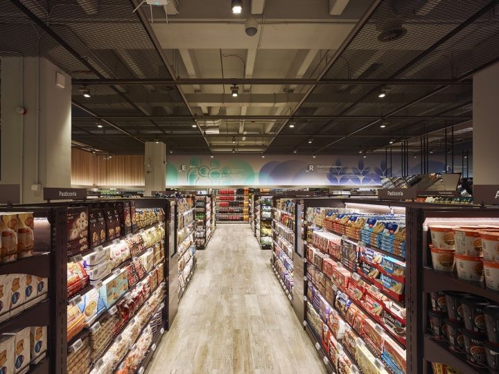 The Architecture Of The Supermarket Is Meant To Foster An Overarching Perception Of The Whole Environ Supermarket Design Retail Store Design Store Architecture