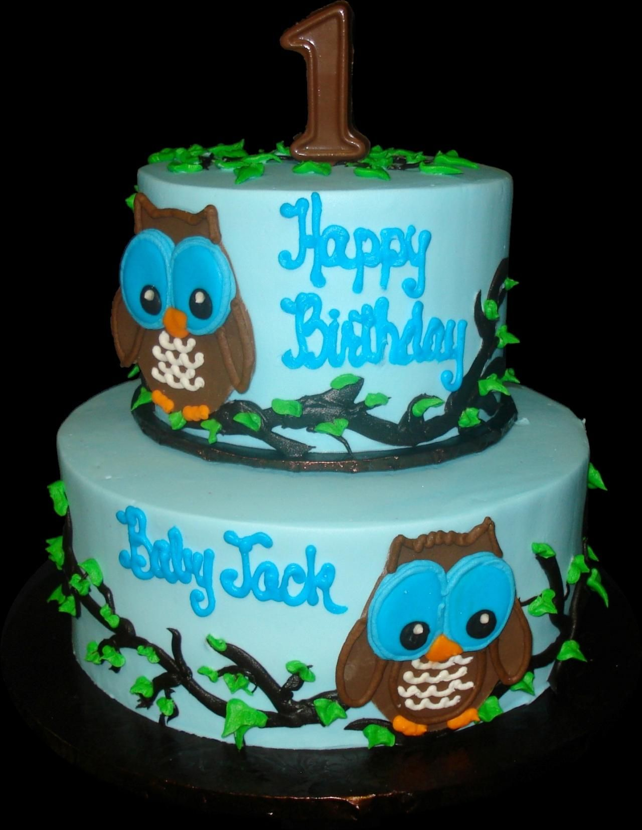 Owl 1st Birthday Cake Blue buttercream iced round 2 tiers