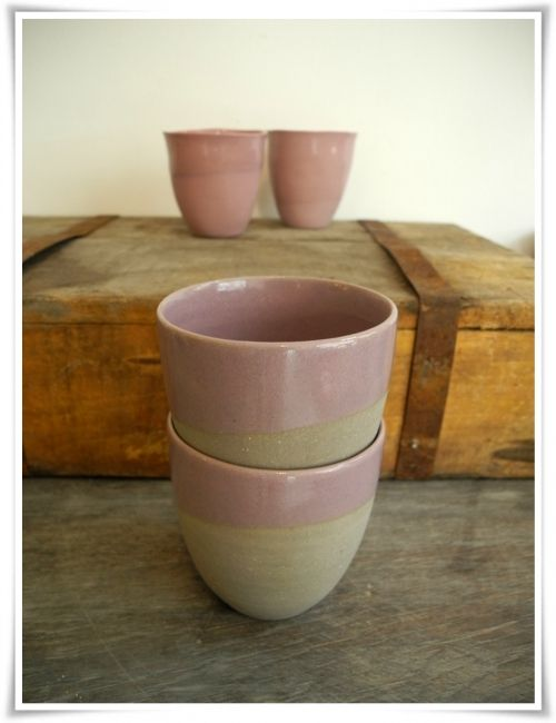 Cafe cups set of 2 without ears in grey and lilac My ceramic - k chenm bel f r kleine k chen
