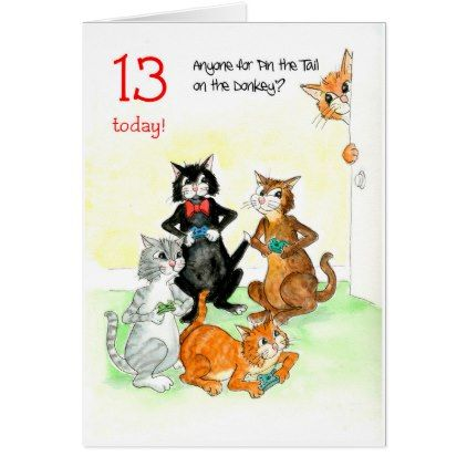 Fun cats playing video game 13th birthday card bookmarktalkfo Gallery