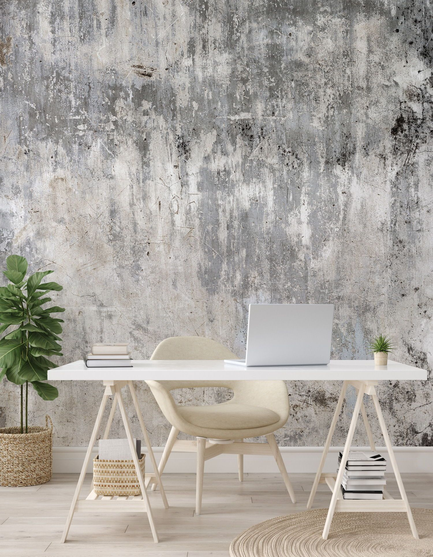 Go For The Industrial Look With A Made To Measure Concrete Wallpaper Mural From Wallsauc Feature Wall Bedroom Wallpaper Bedroom Feature Wall Concrete Wallpaper