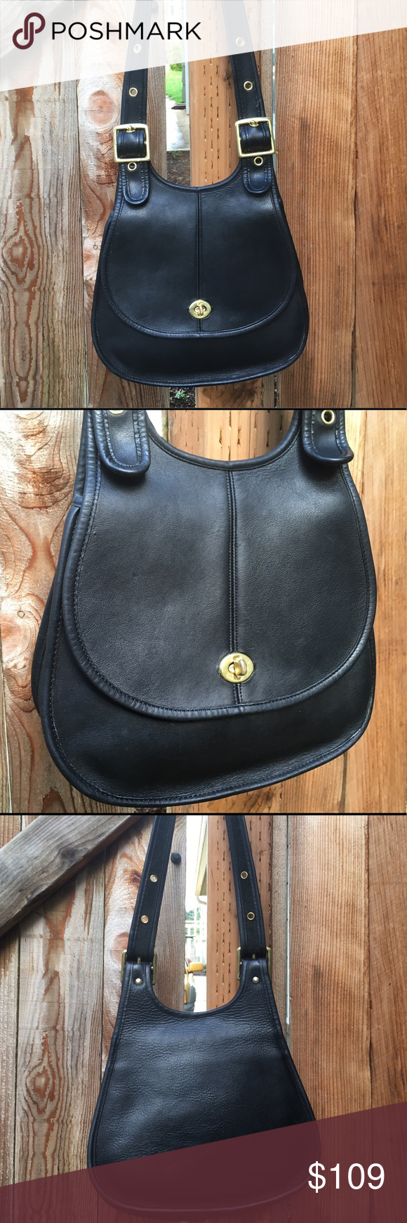Vintage Coach Crescent Hippie Saddle Bag Black NYC Vintage Coach Crescent Bag  Style 9235, No. 823-3848 Made in New York City   Black glove tanned full-grain leather. Solid brass adjustable buckles, strap fits comfortably on the shoulder (too short for crossbody). One interior slip pocket. No hang tag.   I have cleaned, reshaped and conditioned this bag. Shows normal signs of vintage wear including scratches, scuffs and tarnish. The backside of the bag has a pebbled texture. Inside looks…
