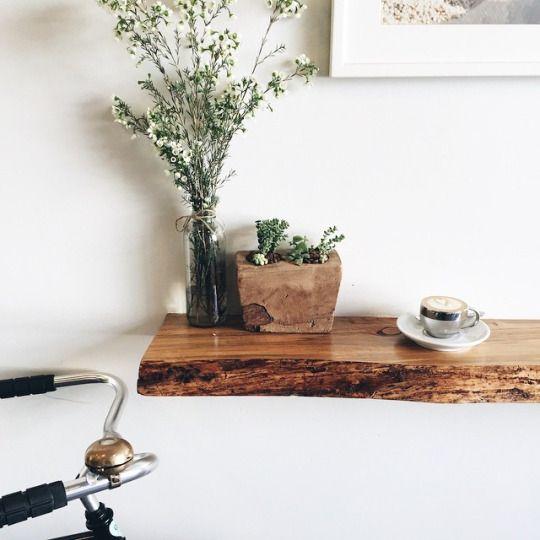 Wooden shelves + plants