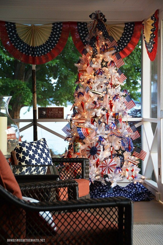 Patriotic Tree on the Porch for Independence Day -  Patriotic Tree on the porch for Independence Day | ©homeiswheretheboatis.net #patriotic #tree #redwhiteandblue #porch #4thofJuly