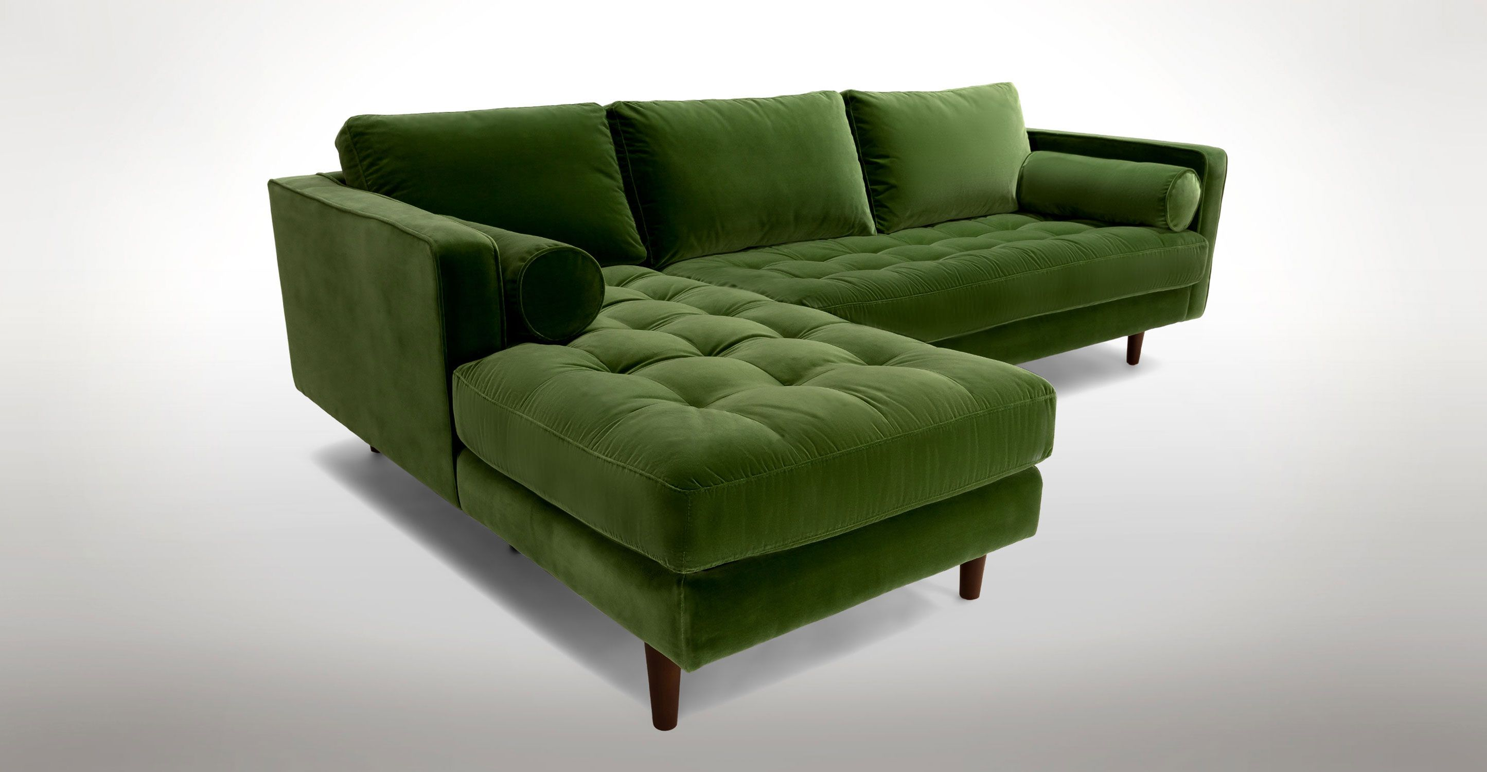 barrel olive hero velvet tufted piece hei and aidan sofa web reviews sectional arm green crate wid furn right corner zoom