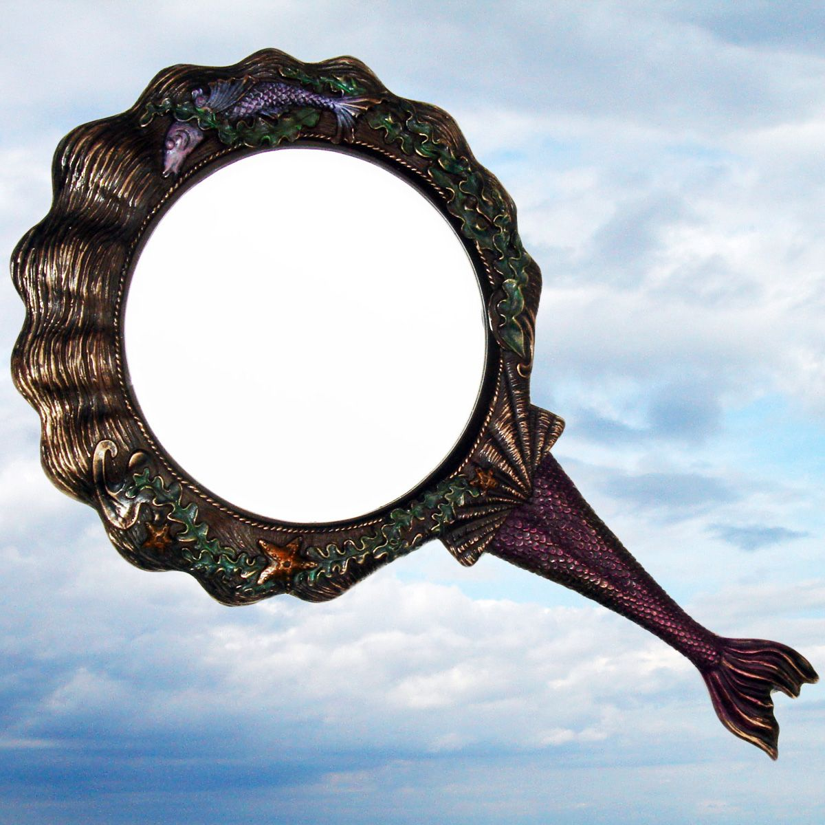 Mermaid Hand Mirror Vintage Antique Nautical Decor New
