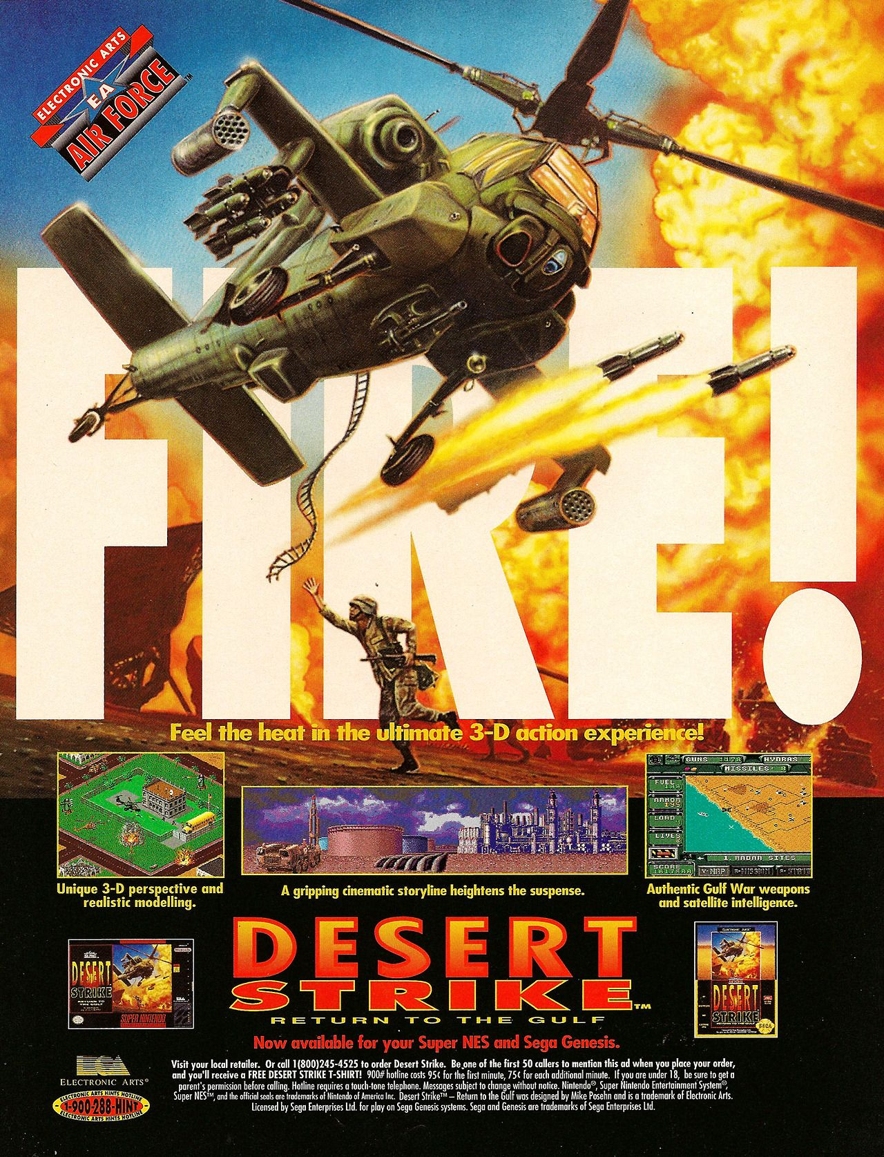 An Advert For Desert Strike On The Snes And Genesis Video Game