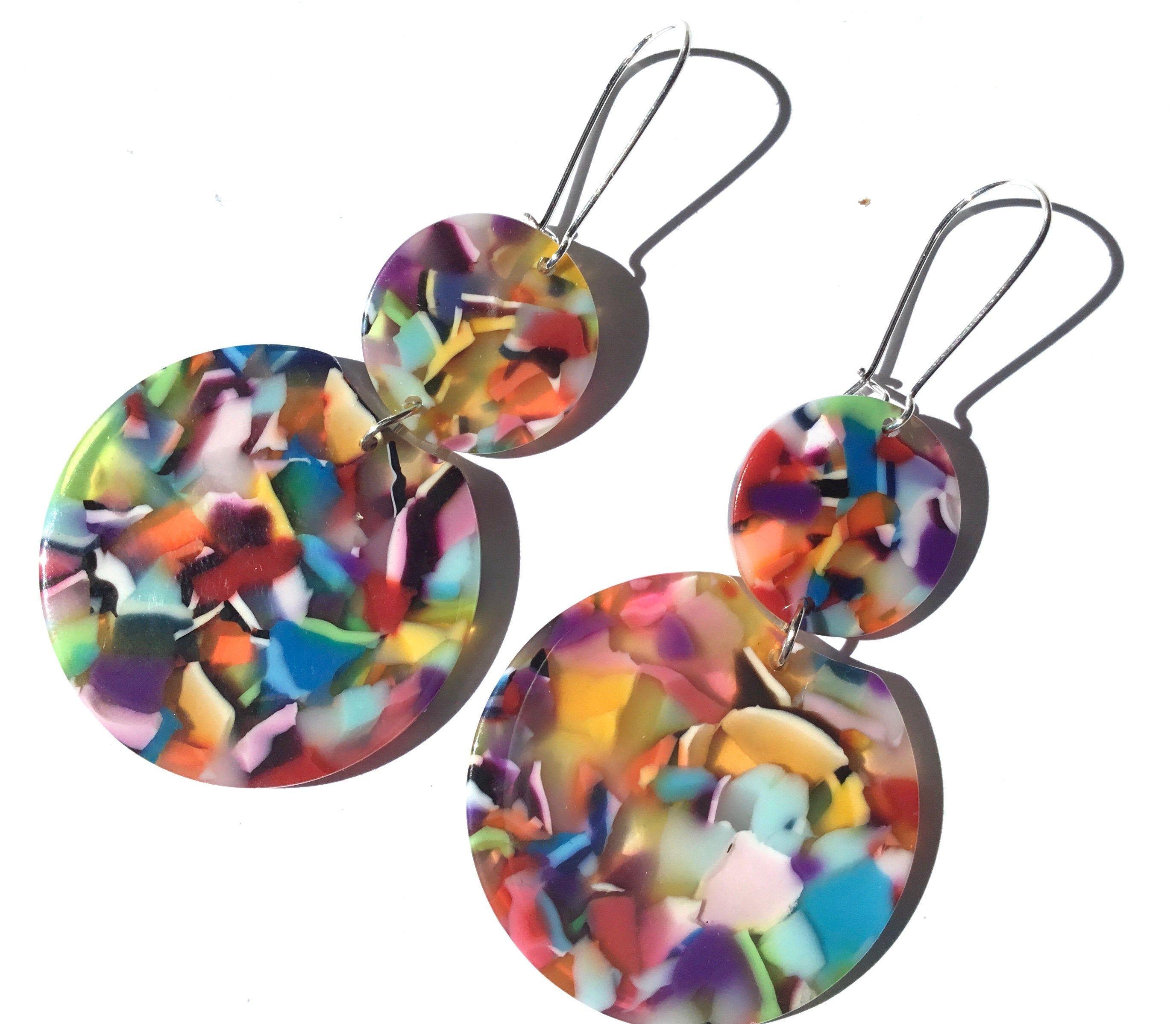 multicolored acetate imitation tortoiseshell Summer earrings