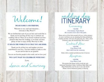 Welcome Letter Wedding Itinerary Hotel Welcome By Designandpop