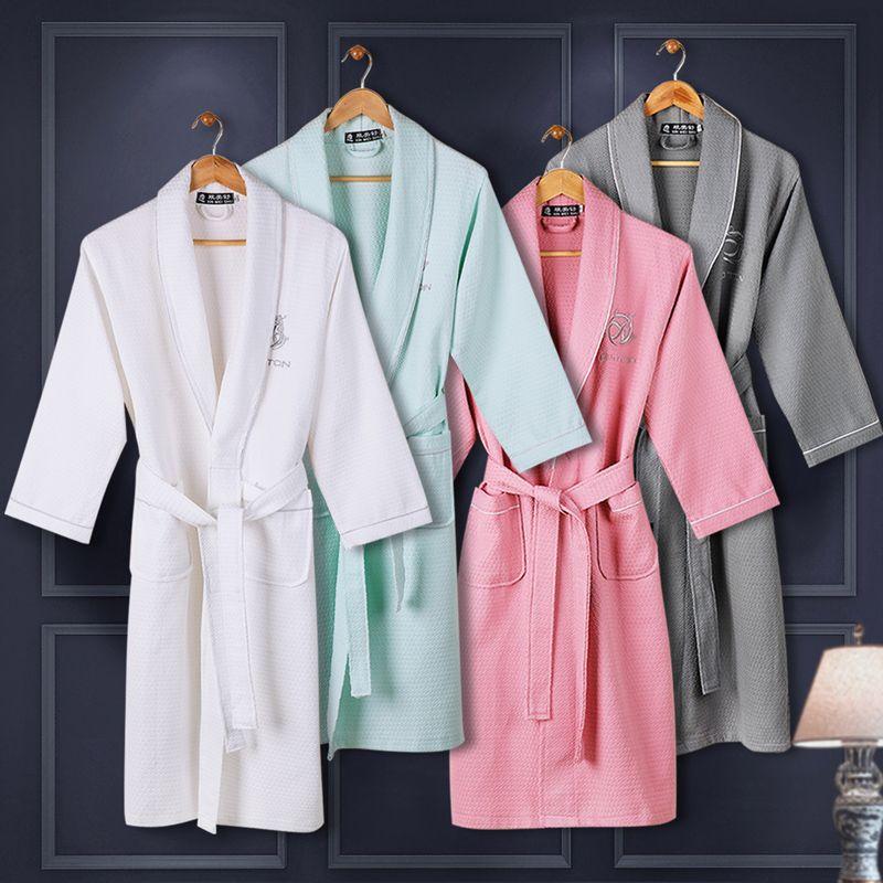 87387c3bc8 Waffle cotton women bathrobe men nightgown sleepwear for girl blanket towel  hotel lovers long soft plus size summer autumn