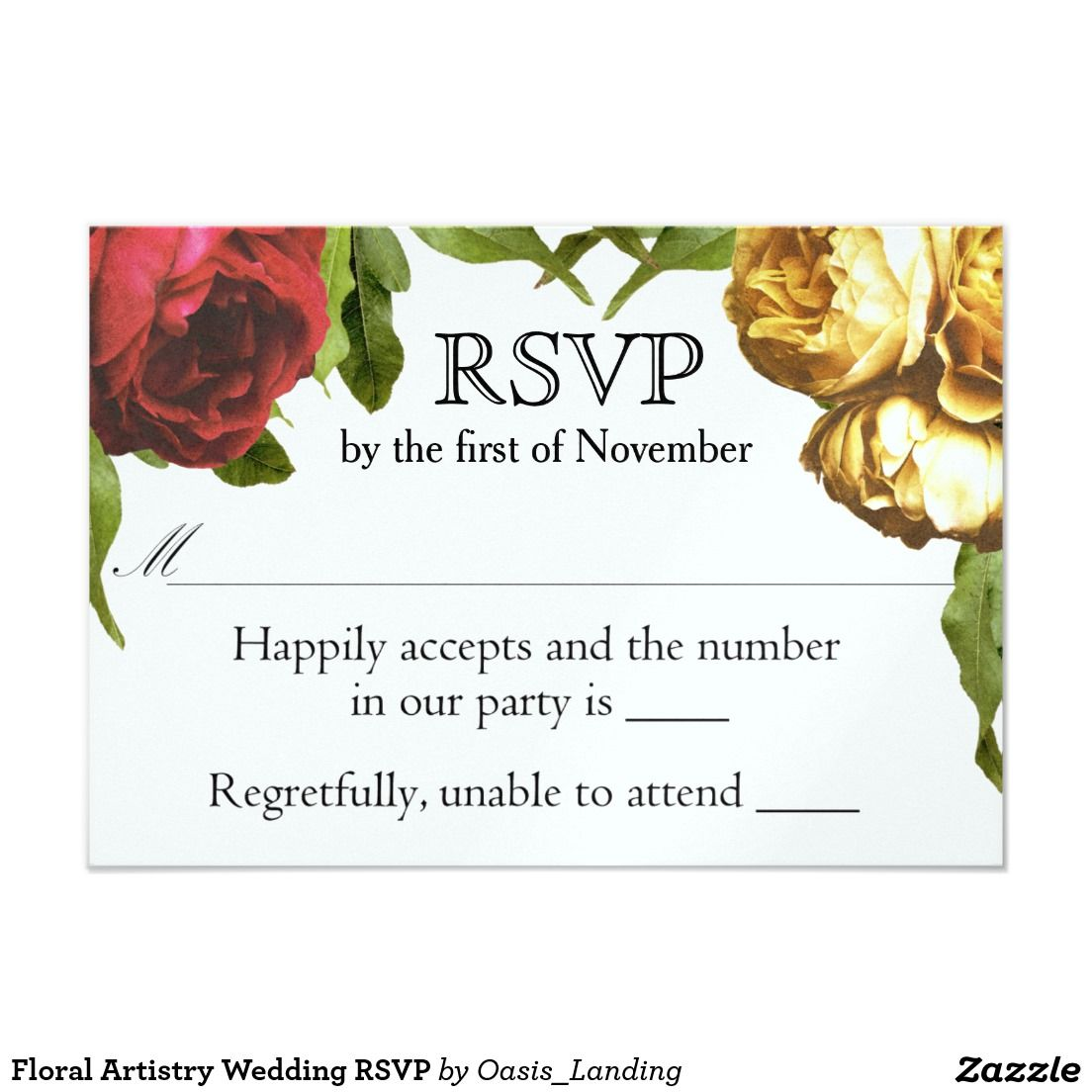 Floral Artistry Wedding RSVP Card - This RSVP card coordinates with ...
