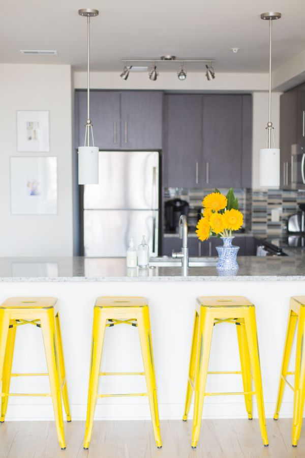 Yellow Barstools In Gray And White Kitchen Modern Kitchen Lemon