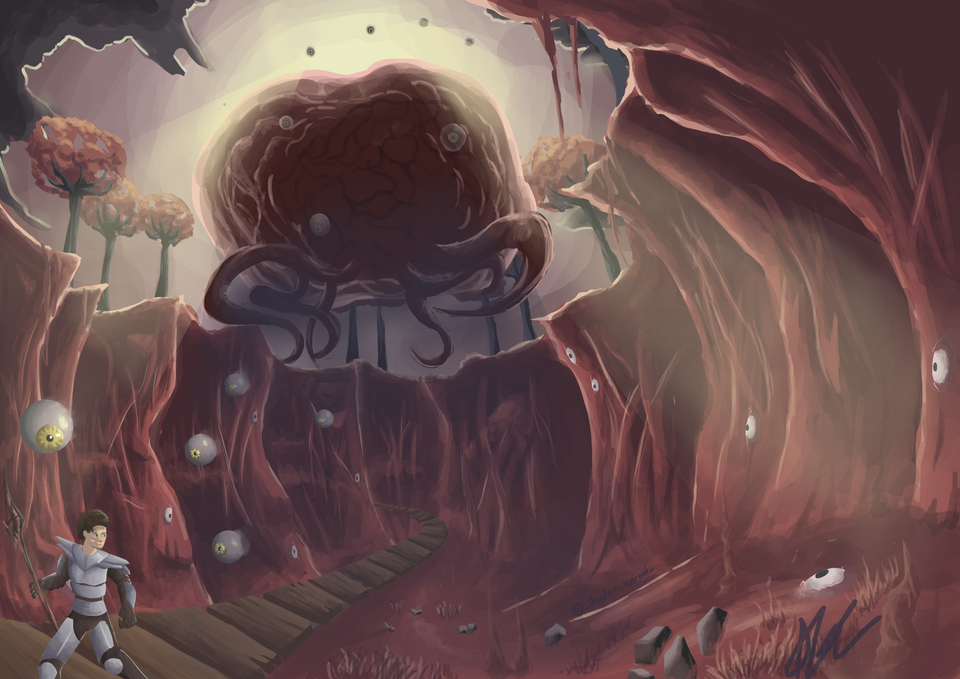 I Drew The Large Brain Lad With Creepo Eyes I Terraria Terrarium Draw Fan Art