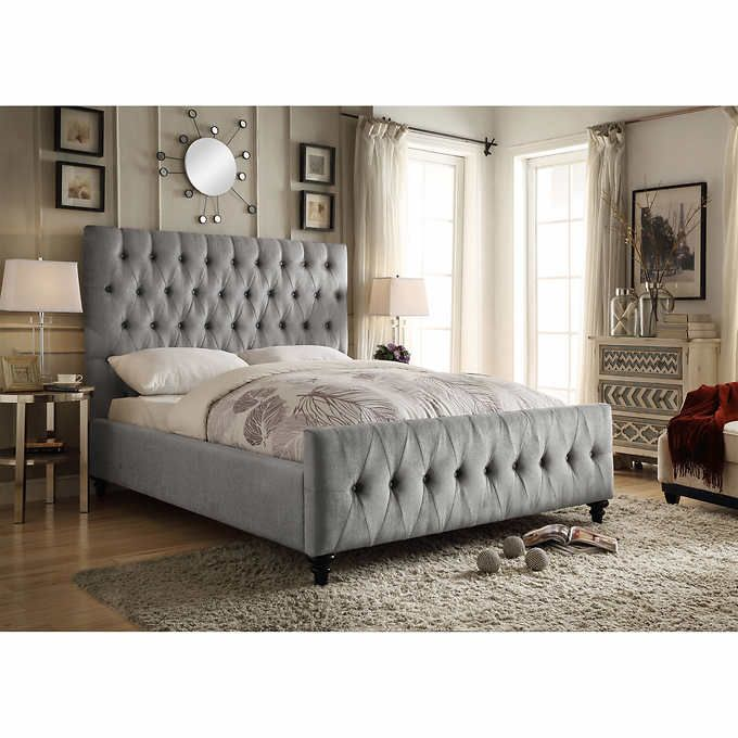 Celeste Grey Upholstered Bed Costcoca BC Home Bedrooms - Costco ca bedroom furniture