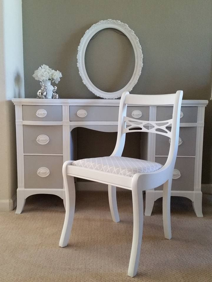 Vintage Vanity Desk General Finishes Seagull Gray And Snow White Trim