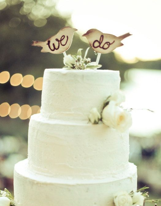3 Cake Topper Love Birds Rustic Wedding Decor By Braggingbags