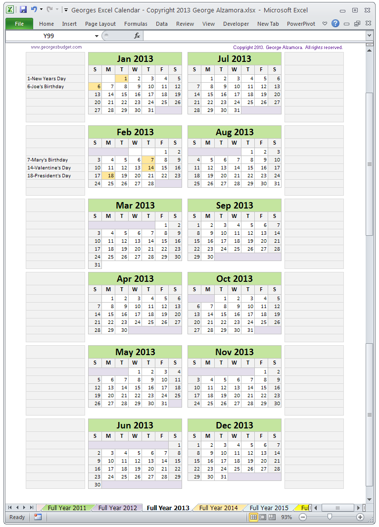 Excel Calendar Template Monthly Calendar Spreadsheet Software