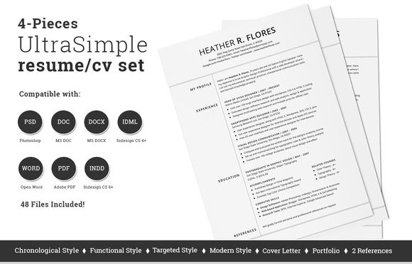 Check out 4 Pieces Resume/CV Set Template by SNIPESCIENTIST on