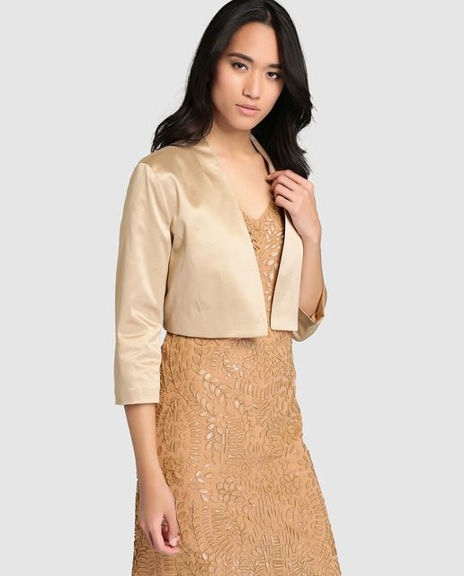 chaqueta bolero de mujer fiesta el corte inglés en dorado | moda