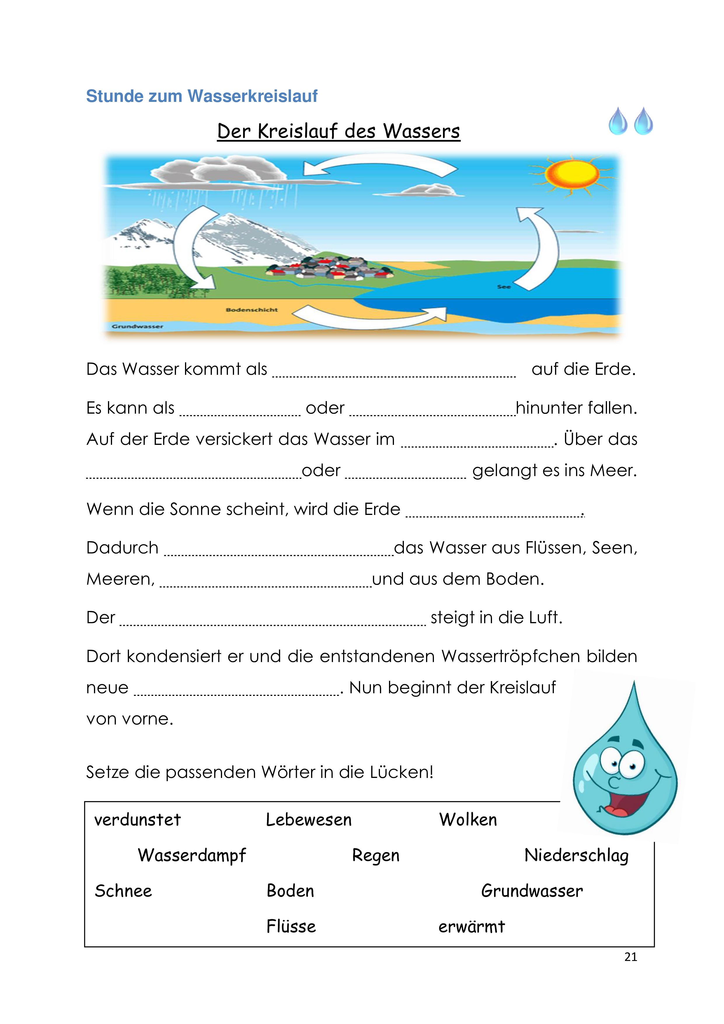 Einführungsstunde zum Wasserkreislauf – Unterrichtsmaterial im ...