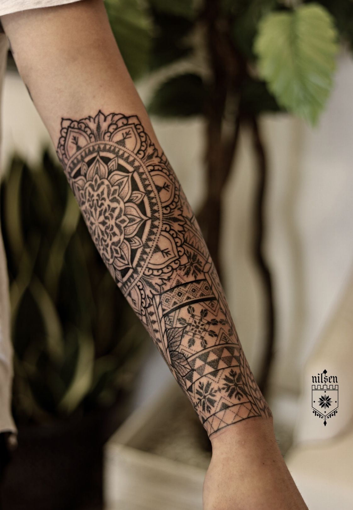 Www Kirknilsen Com Www Instagram Com Kirknilsentattoos Mandala Geometric Sacredgeometry Pa Geometric Sleeve Tattoo Mandala Tattoo Men Mandala Arm Tattoos