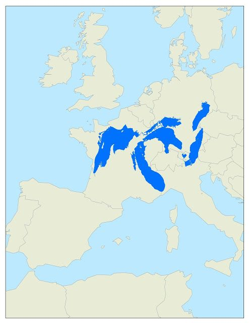 Map The Size Of The Great Lakes Compared To Europe Michigan