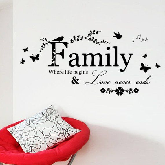 SaLe! Family Love Never Ends Butterfly flower Quote vinyl Wall Decal Lettering Words Wall Sticker Ho