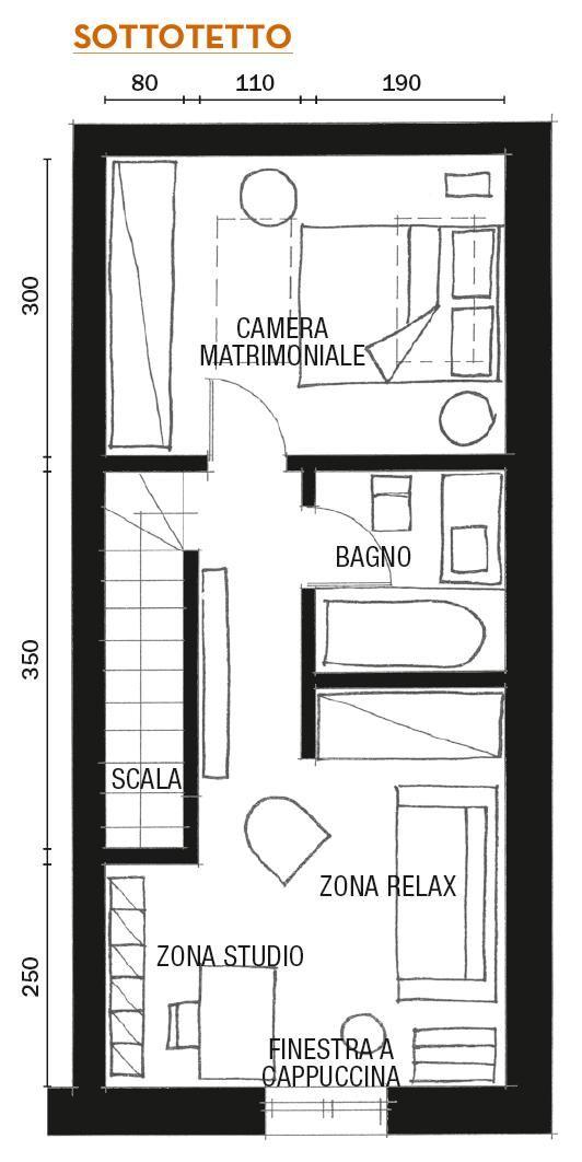 Mini loft ristrutturato con mansarda camping mansarda for Piantine case