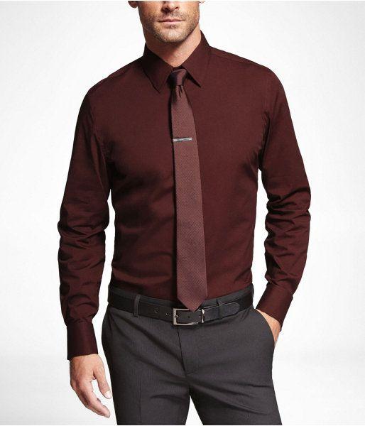 0df1349fc0d Express Mens Modern Fit 1Mx French Cuff Shirt Russian Ruby