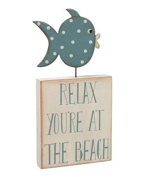 Love this Cream & Blue 'Relax' Fish Box Sign by Collins on #zulily! #zulilyfinds