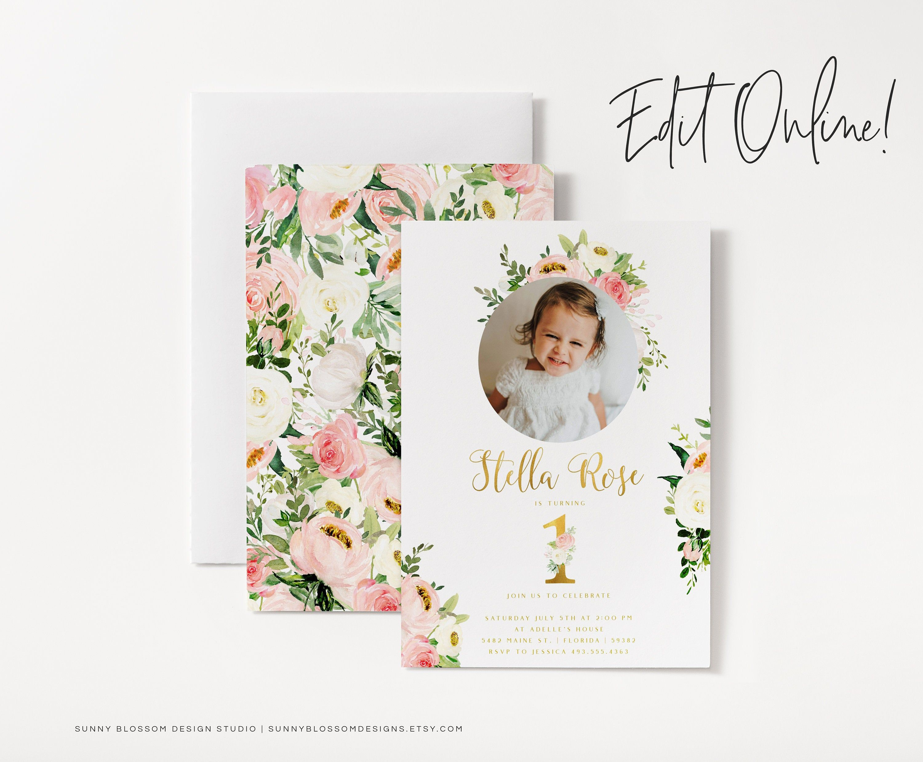 Editable First Birthday Invitation Instant Download