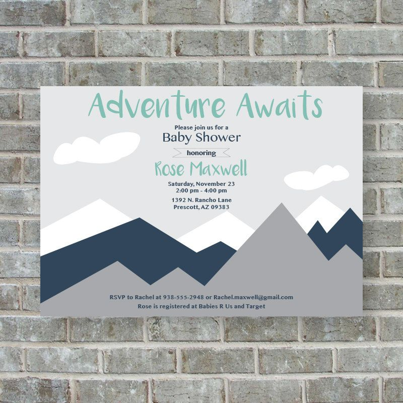 BABY SHOWER INVITATION- Adventure awaits baby shower invitation ...