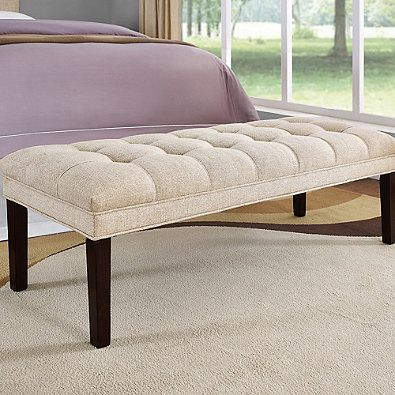 Pulaski Haralson Upholstered Tufted Bed Bench in Off White