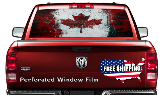 Cool canadian flag canada decal full color print perforated film truck suv back window sticker perf028