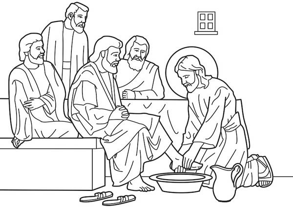 Jesus Washes His Disciples Feet In Miracles Of Jesus Coloring Page