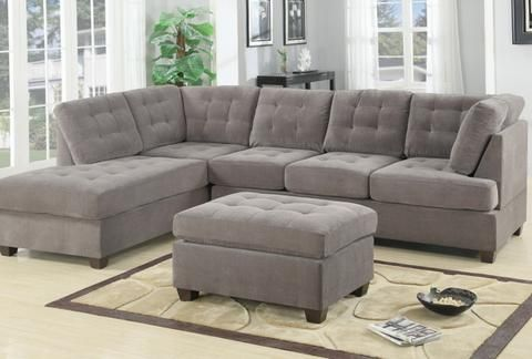 3 Piece Modern Large Tufted Grey Microfiber Sectional Sofa With Ottoman