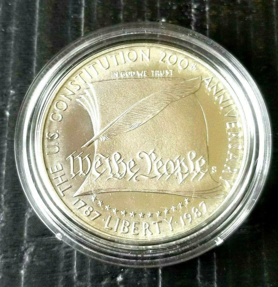 1987 Constitution Commemorative Proof Silver Dollar Box /& COA No Coin