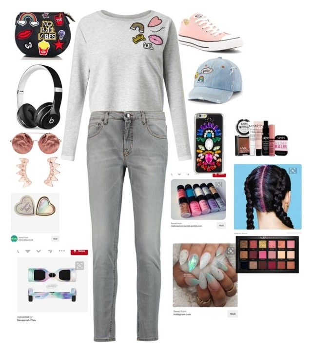 """Regular ootd"" by daishajackson on Polyvore featuring beauty, Miss Selfridge, dVb Victoria Beckham, Converse, Beats by Dr. Dre, SO, Matthew Williamson, Huda Beauty and NYX"
