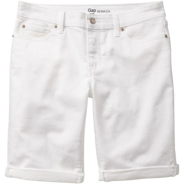 Gap Women Factory White Denim Bermuda Shorts ($13) ❤ liked on ...