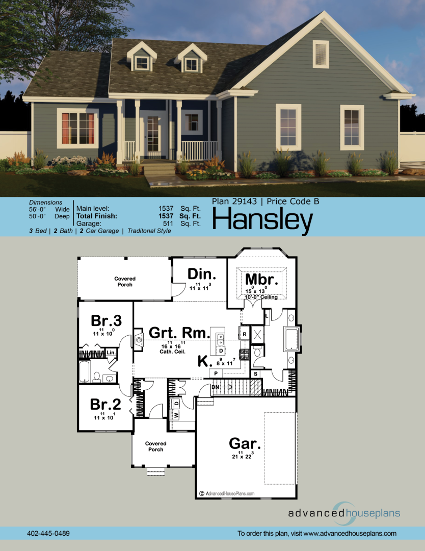 1 Story Traditional House Plan Hansley House Plans Craftsman