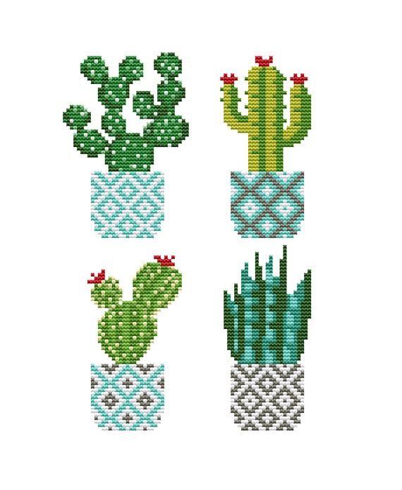Cute Cactus cross stitch pattern PDF Modern cross stitch chart Floral cross stitch plants Succulent Hoop Art Mini Botany Easy cross stitch #number5