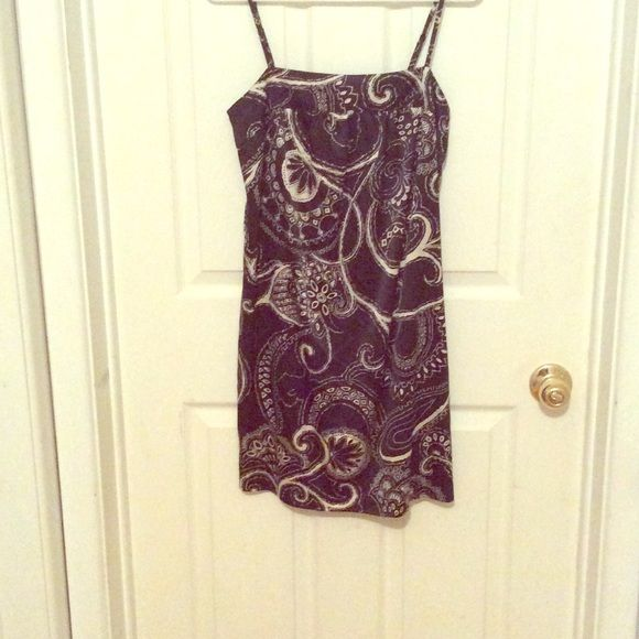 Black and cream paisley like spaghetti strap dress Cream and black super comfy dress, great for summer with wedges! Express Dresses