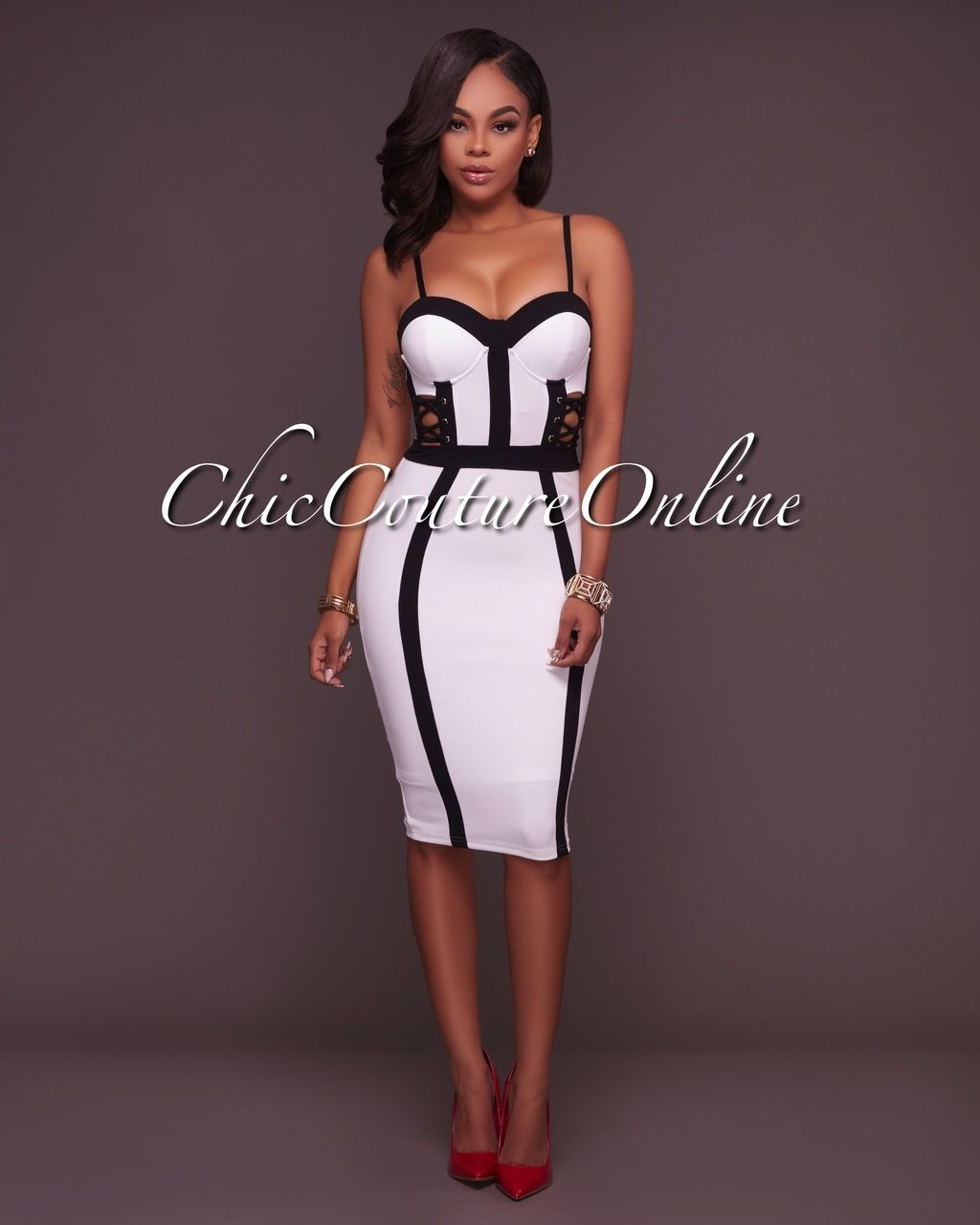 Chic Couture Online - Shoji Off-White Black Lace-Up Sides Padded ...