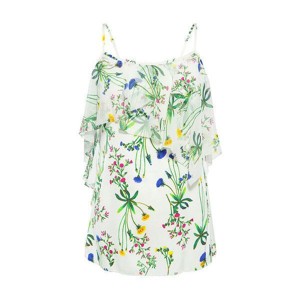 Marissa Webb - Fiona Print Blouse ($125) ❤ liked on Polyvore featuring tops, blouses, asymmetric top, white blouse, floral tops, tiered blouse and summer tops