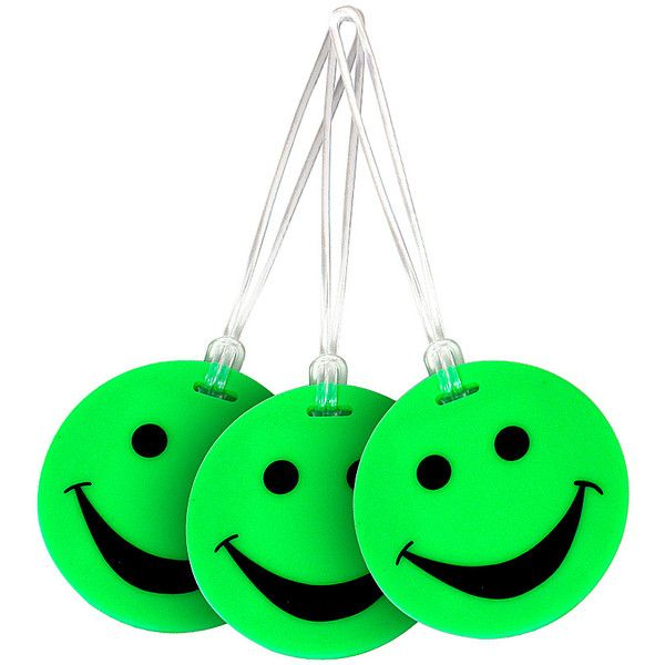 Lewis N. Clark Set of 3 Neon Smiley Face Luggage Tags ($17) ❤ liked on Polyvore featuring bags, luggage, green, luggage accessories and travel accessories