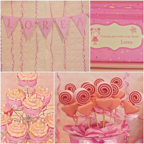 dulce fiesta de cumpleaos en tonos rosas