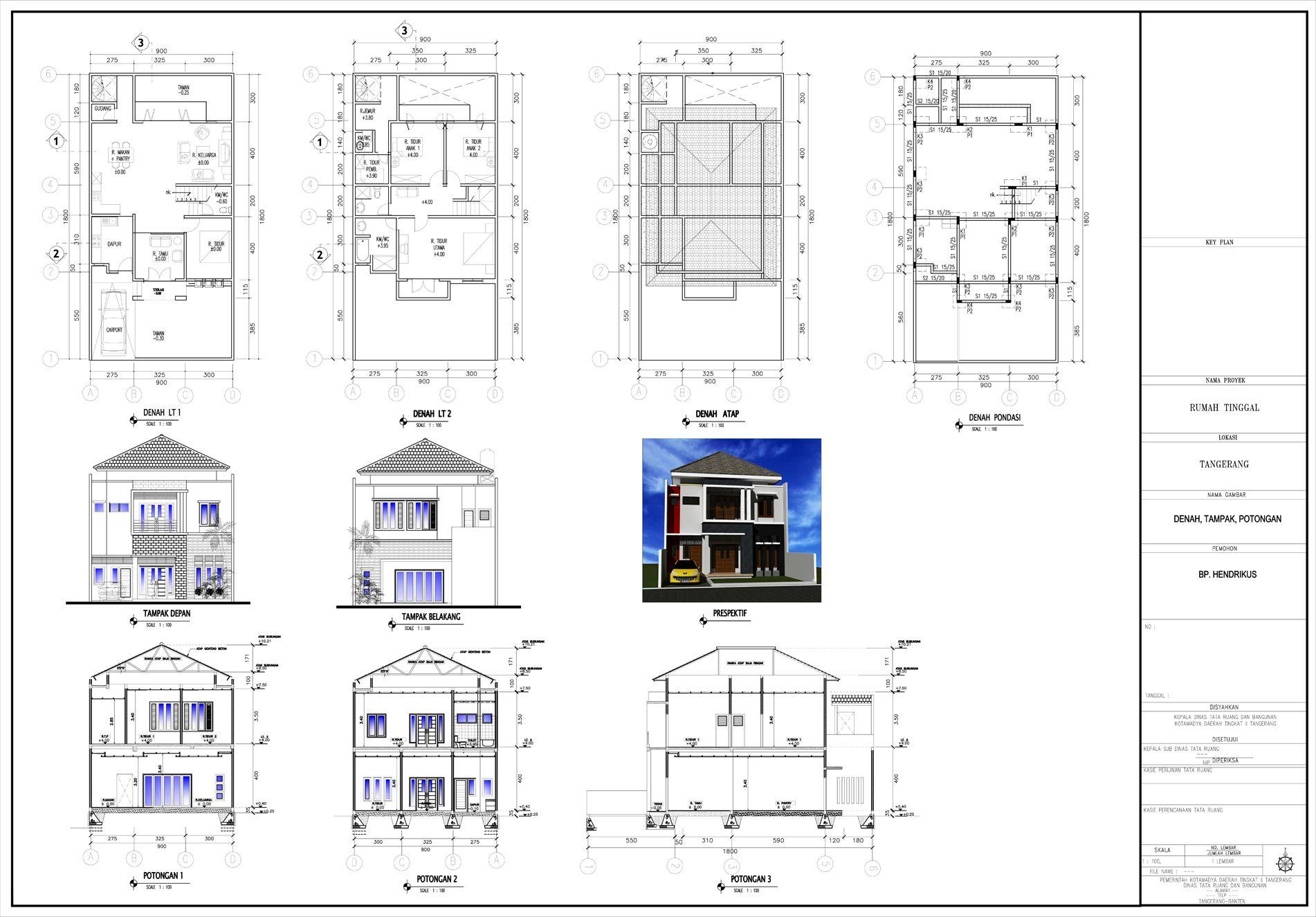 Denah Potongan Tampak Orthographic Drawing Arsitektur Rumah
