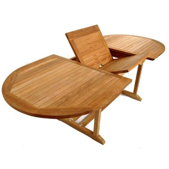 Teak Type Oval Butterfly Leaf Dining Table